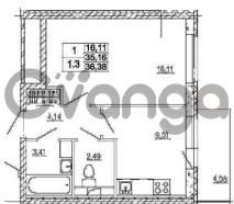 Продается квартира 1-ком 35.16 м² Европейский проспект 4к 2, метро Улица Дыбенко