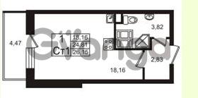 Продается квартира 1-ком 24.81 м² Европейский проспект 4к 2, метро Улица Дыбенко