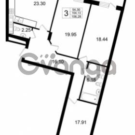 Продается квартира 3-ком 104.13 м² Ушаковская набережная 3, метро Черная речка