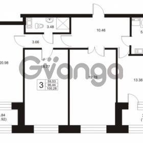 Продается квартира 3-ком 96.44 м² Ушаковская набережная 3, метро Черная речка