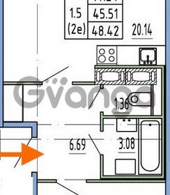 Продается квартира 1-ком 45.51 м² Комендантский проспект 53к 1, метро Комендантский проспект