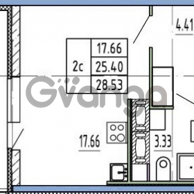 Продается квартира 1-ком 25.4 м² Комендантский проспект 53к 1, метро Комендантский проспект