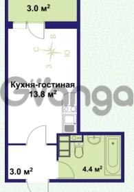 Продается квартира 1-ком 21.2 м² улица Крыленко 1, метро Улица Дыбенко
