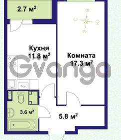 Продается квартира 1-ком 38.6 м² улица Крыленко 1, метро Улица Дыбенко