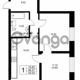 Продается квартира 1-ком 46.37 м² Ушаковская набережная 3, метро Черная речка