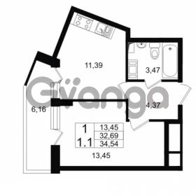 Продается квартира 1-ком 32.69 м² проспект Строителей 1, метро Улица Дыбенко