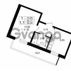 Продается квартира 1-ком 32.17 м² проспект Строителей 1, метро Улица Дыбенко