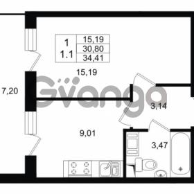 Продается квартира 1-ком 30.8 м² проспект Строителей 1, метро Улица Дыбенко