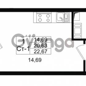 Продается квартира 1-ком 20.63 м² проспект Строителей 1, метро Улица Дыбенко