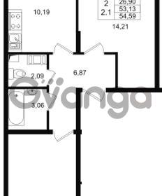 Продается квартира 2-ком 53.13 м² проспект Строителей 1, метро Улица Дыбенко