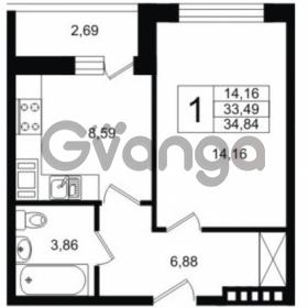 Продается квартира 1-ком 33.49 м² Шоссейная 1, метро Ладожская