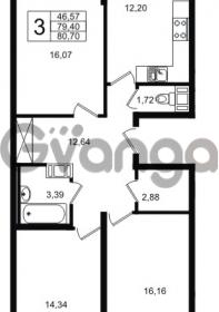 Продается квартира 3-ком 79.4 м² Шоссейная 1, метро Ладожская