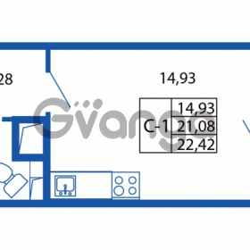 Продается квартира 1-ком 21.08 м² проспект Строителей 1, метро Улица Дыбенко