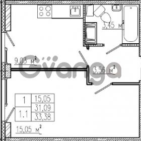 Продается квартира 1-ком 31.09 м² проспект Строителей 1, метро Улица Дыбенко
