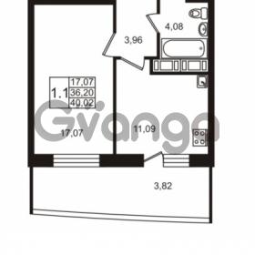 Продается квартира 1-ком 36.2 м² улица Катерников 1, метро Проспект Ветеранов
