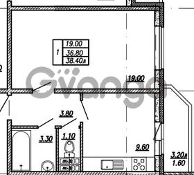 Продается квартира 1-ком 38.4 м² улица Бабушкина 82к 1, метро Пролетарская