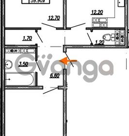 Продается квартира 2-ком 59.9 м² улица Бабушкина 82к 1, метро Пролетарская