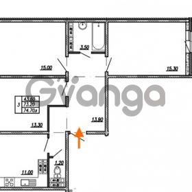 Продается квартира 3-ком 74.7 м² улица Бабушкина 82к 1, метро Пролетарская
