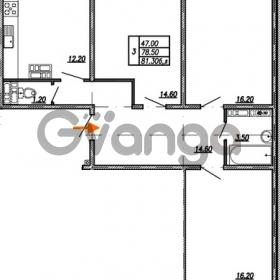Продается квартира 3-ком 81.3 м² улица Бабушкина 82к 1, метро Пролетарская