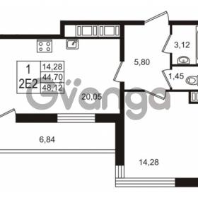 Продается квартира 1-ком 44.7 м² улица Шувалова 7, метро Девяткино