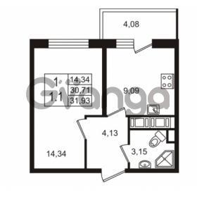 Продается квартира 1-ком 30.71 м² улица Шувалова 7, метро Девяткино