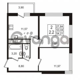Продается квартира 2-ком 53.04 м² улица Шувалова 7, метро Девяткино