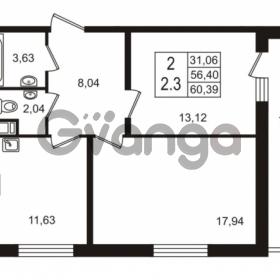 Продается квартира 2-ком 56.4 м² улица Шувалова 7, метро Девяткино
