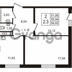 Продается квартира 1-ком 55.94 м² улица Шувалова 7, метро Девяткино