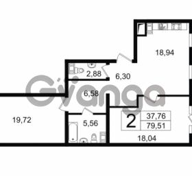 Продается квартира 2-ком 79.51 м² Новгородская улица 17, метро Чернышевская
