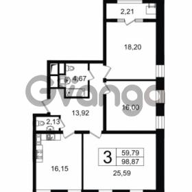 Продается квартира 3-ком 98.87 м² Новгородская улица 17, метро Чернышевская