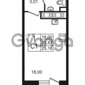 Продается квартира 1-ком 23.87 м² улица Шувалова 7, метро Девяткино