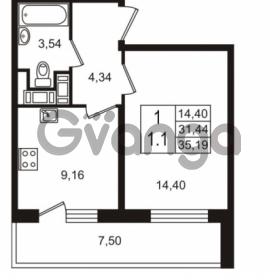 Продается квартира 1-ком 31.44 м² улица Шувалова 7, метро Девяткино