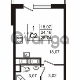 Продается квартира 1-ком 24.16 м² улица Шувалова 7, метро Девяткино