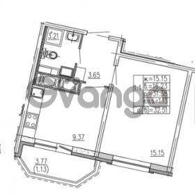 Продается квартира 1-ком 31.38 м² улица Шувалова 1, метро Девяткино