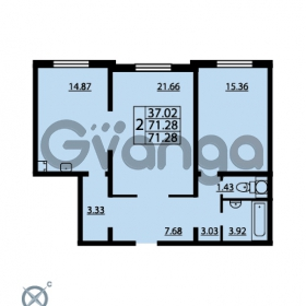 Продается квартира 2-ком 71.28 м² проспект Маршала Блюхера 12Б, метро Лесная