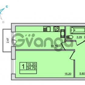 Продается квартира 1-ком 34.79 м² Центральная улица 83, метро Ладожская