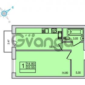 Продается квартира 1-ком 33.55 м² Центральная улица 83, метро Ладожская