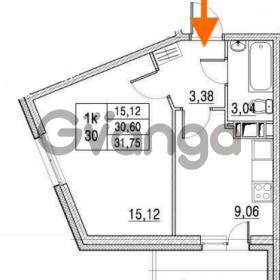 Продается квартира 1-ком 30.6 м² улица Шувалова 1, метро Девяткино