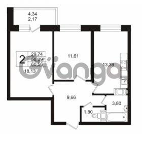 Продается квартира 2-ком 58.39 м² Кушелевская дорога 5к 5, метро Лесная