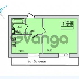 Продается квартира 1-ком 39.32 м² Центральная улица 83, метро Ладожская