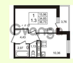 Продается квартира 1-ком 34.85 м² Английская улица 1, метро Улица Дыбенко