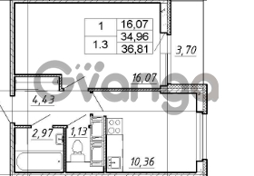 Продается квартира 1-ком 34 м² Английская улица 1, метро Улица Дыбенко