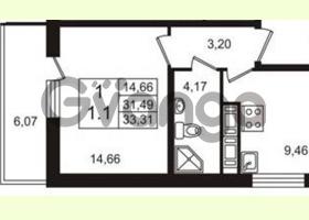 Продается квартира 1-ком 31.49 м² Английская улица 1, метро Улица Дыбенко