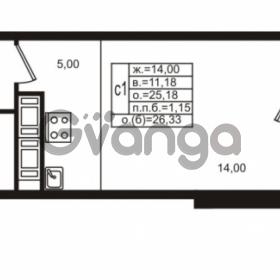 Продается квартира 1-ком 25.18 м² улица Шувалова 1, метро Девяткино