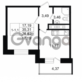 Продается квартира 1-ком 35.31 м² улица Костюшко 19, метро Московская