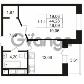 Продается квартира 1-ком 44.28 м² улица Костюшко 19, метро Московская