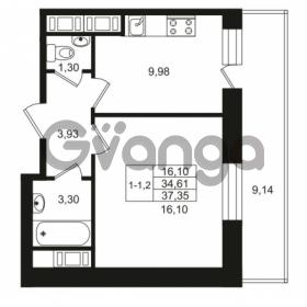 Продается квартира 1-ком 34.61 м² улица Костюшко 19, метро Московская