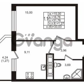 Продается квартира 1-ком 31.76 м² улица Шувалова 1, метро Девяткино
