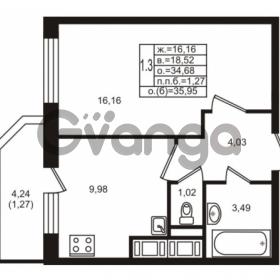 Продается квартира 1-ком 34.68 м² улица Шувалова 1, метро Девяткино