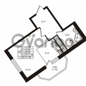 Продается квартира 1-ком 30.64 м² улица Шувалова 1, метро Девяткино